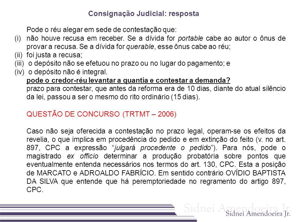 Consignação Judicial: resposta