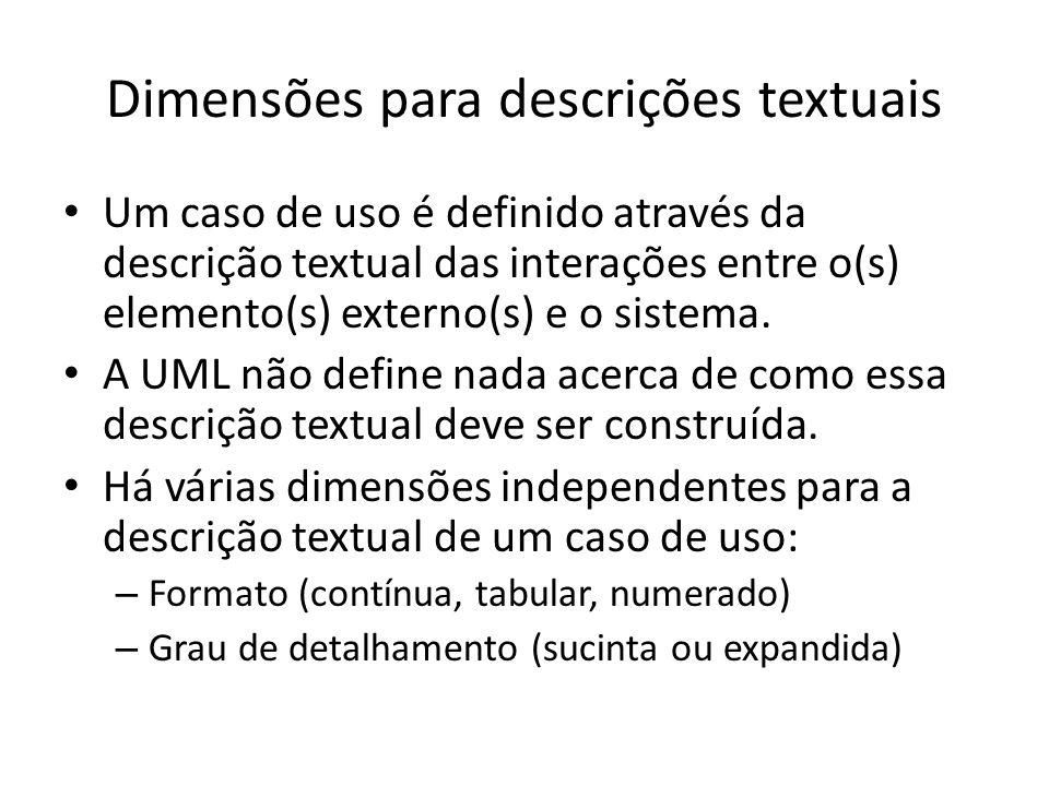Dimensões para descrições textuais