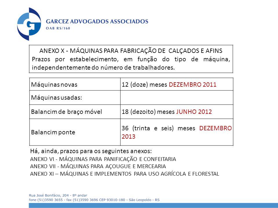 ANEXO X - MÁQUINAS PARA FABRICAÇÃO DE CALÇADOS E AFINS
