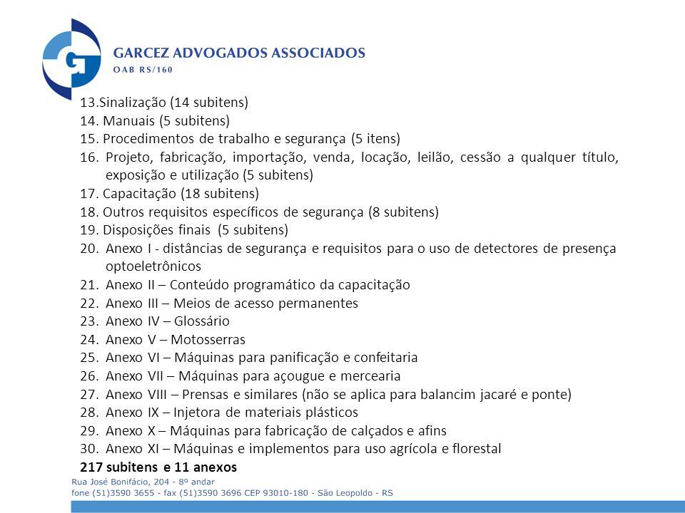 13.Sinalização (14 subitens)