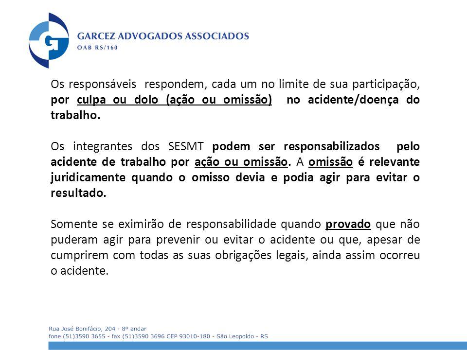 Os responsáveis respondem, cada um no limite de sua participação, por culpa ou dolo (ação ou omissão) no acidente/doença do trabalho.