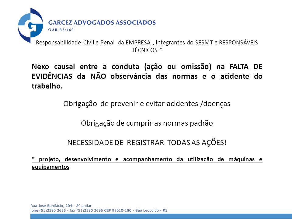 Obrigação de prevenir e evitar acidentes /doenças