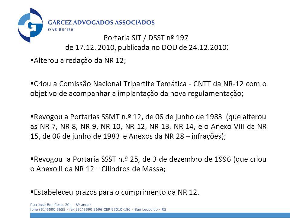 Portaria SIT / DSST nº 197 de 17. 12. 2010, publicada no DOU de 24. 12