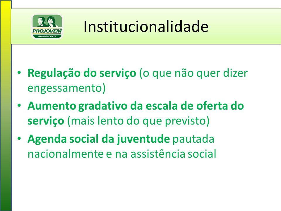 Institucionalidade Regulação do serviço (o que não quer dizer engessamento)