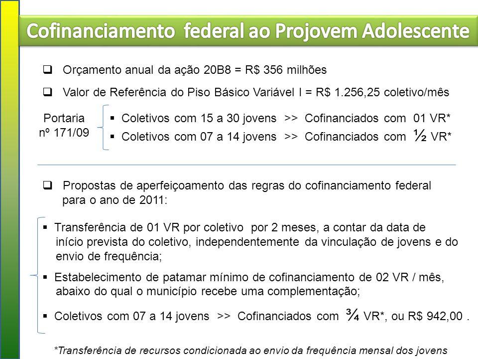 Cofinanciamento federal ao Projovem Adolescente