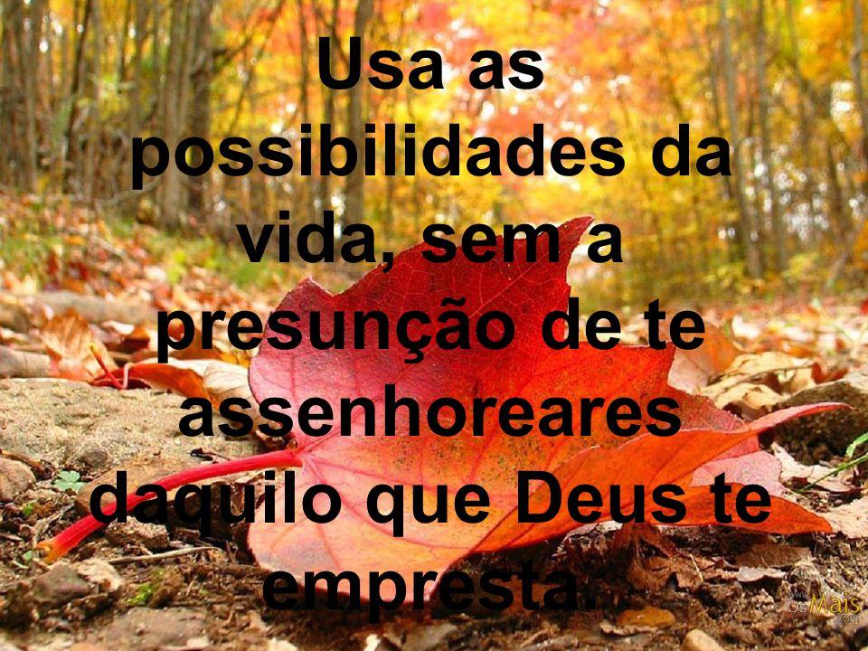 Usa as possibilidades da vida, sem a presunção de te assenhoreares daquilo que Deus te empresta.