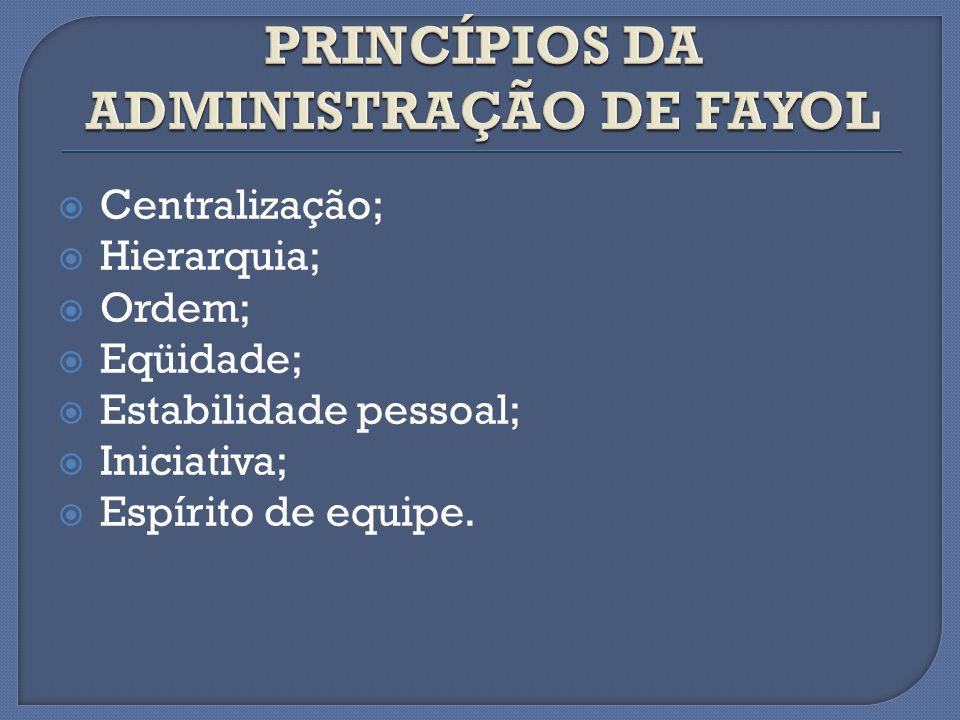 PRINCÍPIOS DA ADMINISTRAÇÃO DE FAYOL