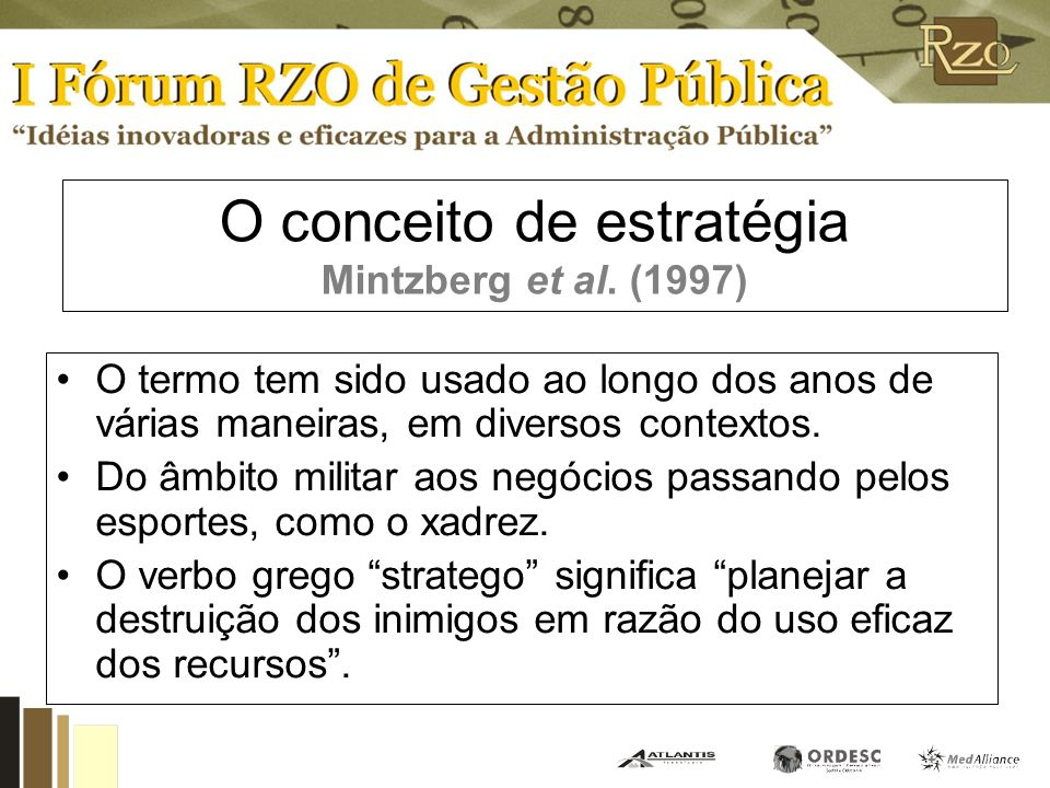 O conceito de estratégia Mintzberg et al. (1997)