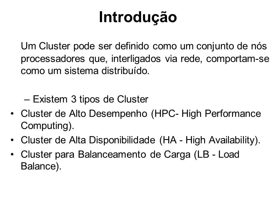 Introdução Um Cluster pode ser definido como um conjunto de nós processadores que, interligados via rede, comportam-se como um sistema distribuído.