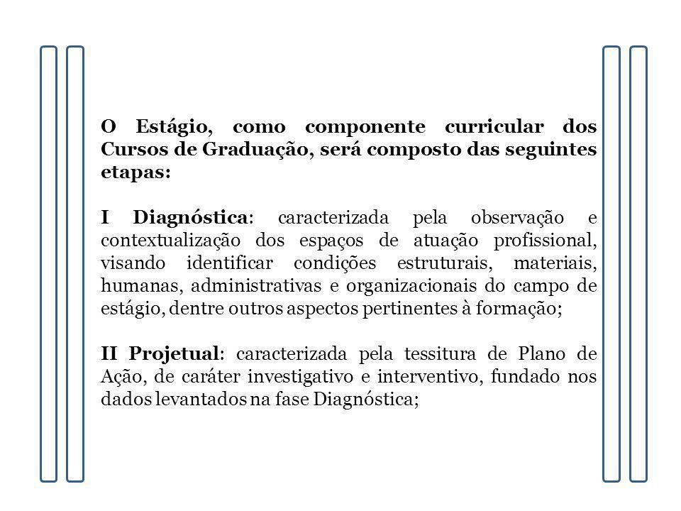 O Estágio, como componente curricular dos Cursos de Graduação, será composto das seguintes etapas: