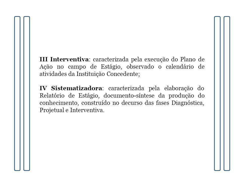 III Interventiva: caracterizada pela execução do Plano de Ação no campo de Estágio, observado o calendário de atividades da Instituição Concedente;