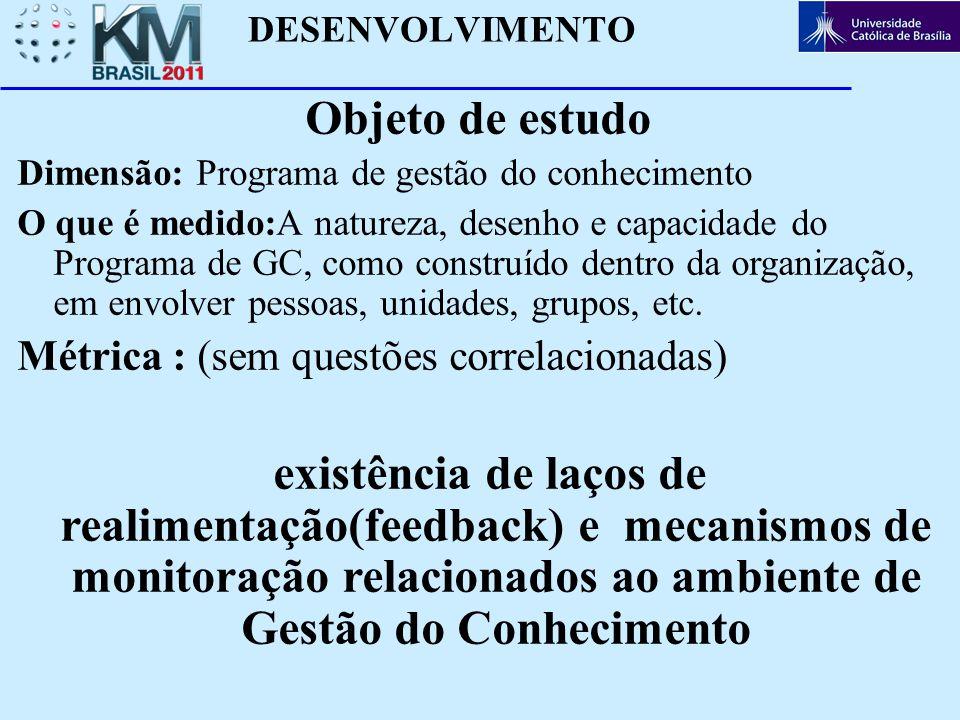 DESENVOLVIMENTO Objeto de estudo. Dimensão: Programa de gestão do conhecimento.
