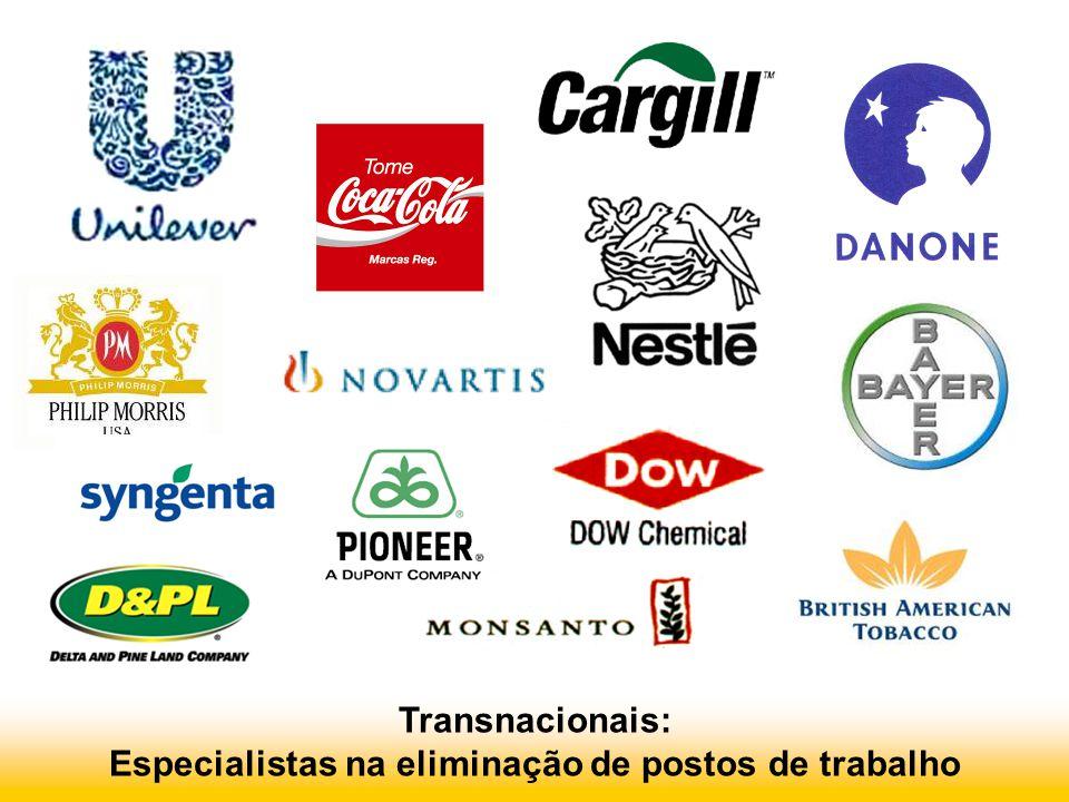 Transnacionais: Especialistas na eliminação de postos de trabalho