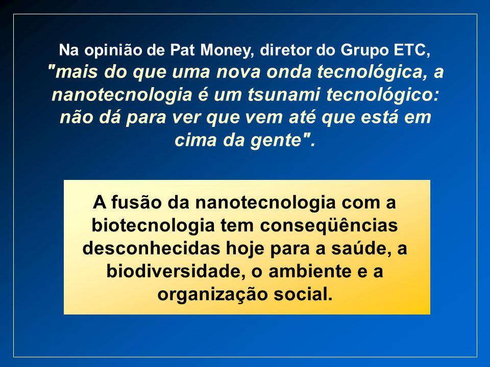 Na opinião de Pat Money, diretor do Grupo ETC, mais do que uma nova onda tecnológica, a nanotecnologia é um tsunami tecnológico: não dá para ver que vem até que está em cima da gente .