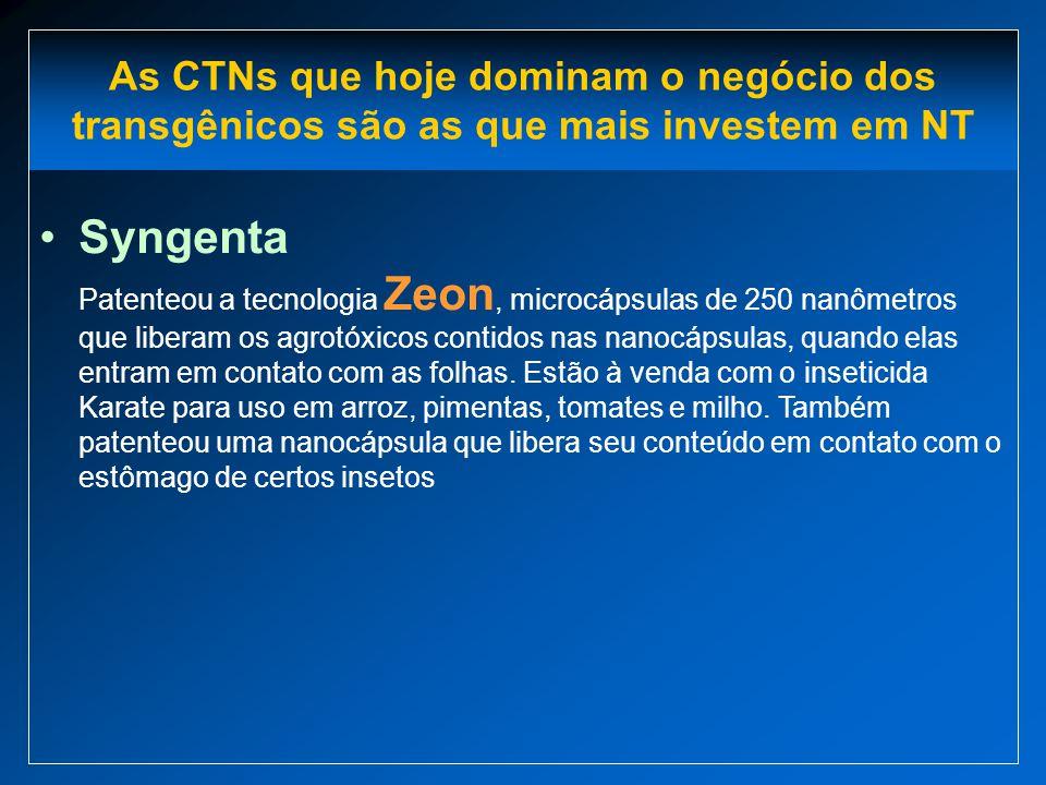 As CTNs que hoje dominam o negócio dos transgênicos são as que mais investem em NT