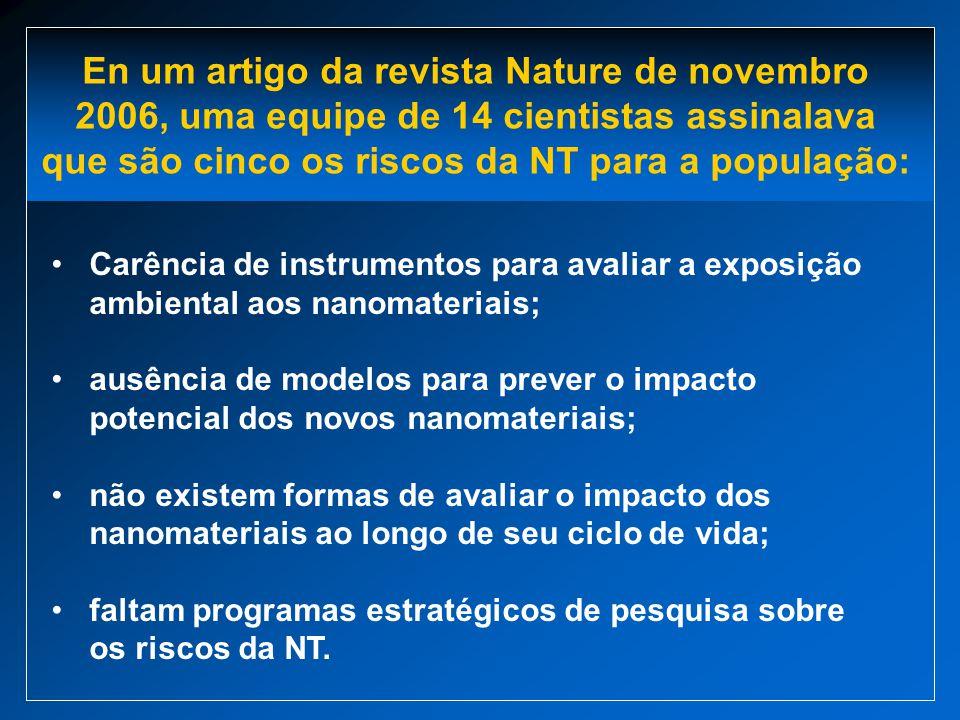 En um artigo da revista Nature de novembro 2006, uma equipe de 14 cientistas assinalava que são cinco os riscos da NT para a população: