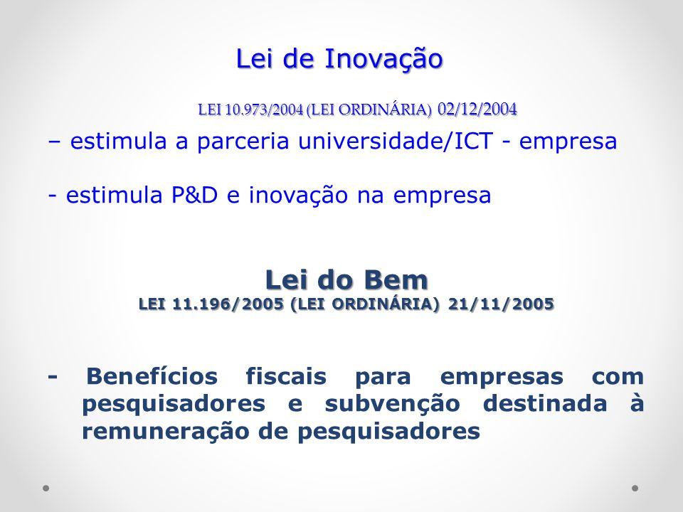 LEI 11.196/2005 (LEI ORDINÁRIA) 21/11/2005