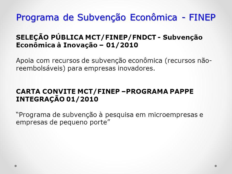 Programa de Subvenção Econômica - FINEP