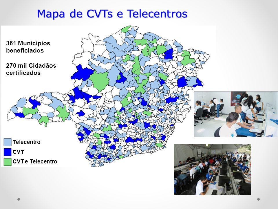 Mapa de CVTs e Telecentros