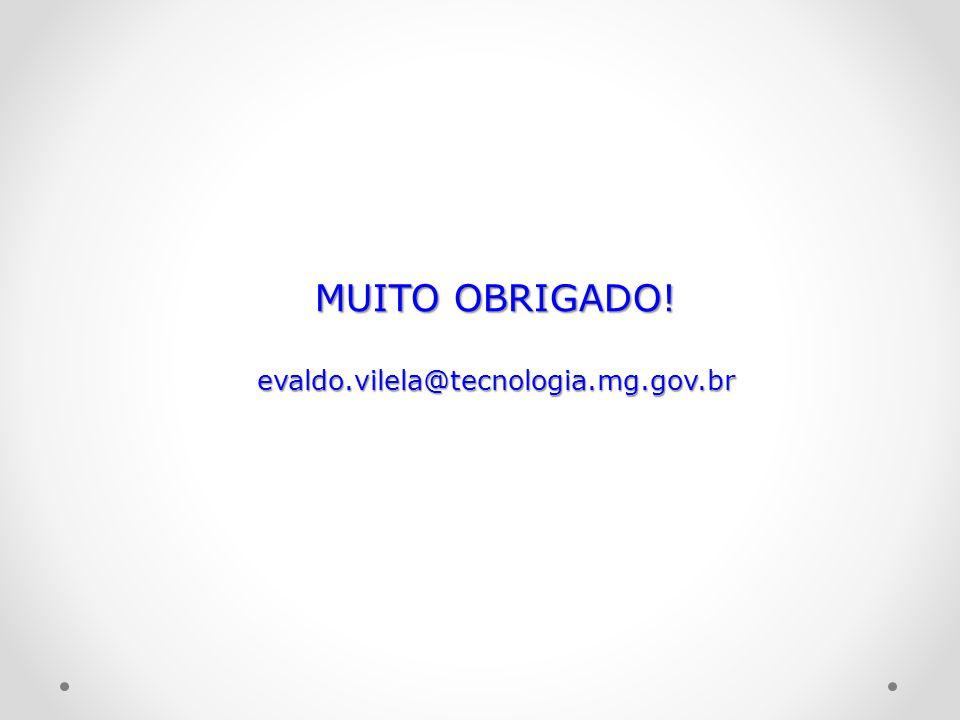 MUITO OBRIGADO! evaldo.vilela@tecnologia.mg.gov.br