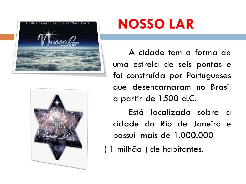 NOSSO LAR A cidade tem a forma de uma estrela de seis pontas e foi construída por Portugueses que desencarnaram no Brasil a partir de 1500 d.C.