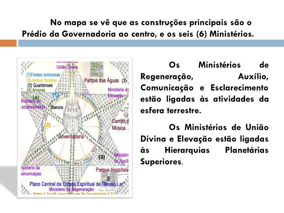No mapa se vê que as construções principais são o Prédio da Governadoria ao centro, e os seis (6) Ministérios.