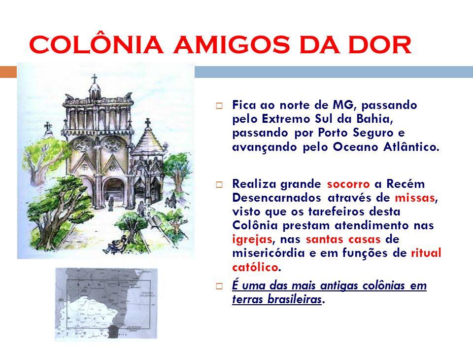 COLÔNIA AMIGOS DA DOR Fica ao norte de MG, passando pelo Extremo Sul da Bahia, passando por Porto Seguro e avançando pelo Oceano Atlântico.