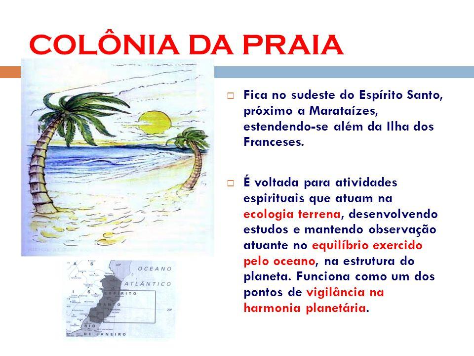 COLÔNIA DA PRAIA Fica no sudeste do Espírito Santo, próximo a Marataízes, estendendo-se além da Ilha dos Franceses.