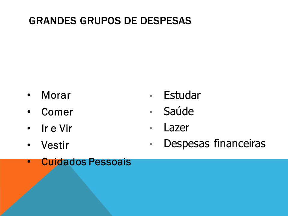 Grandes grupos de despesas