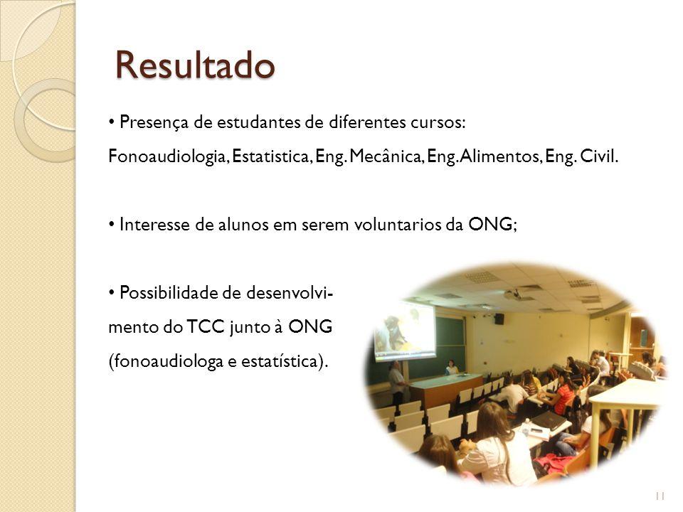 Resultado Presença de estudantes de diferentes cursos: