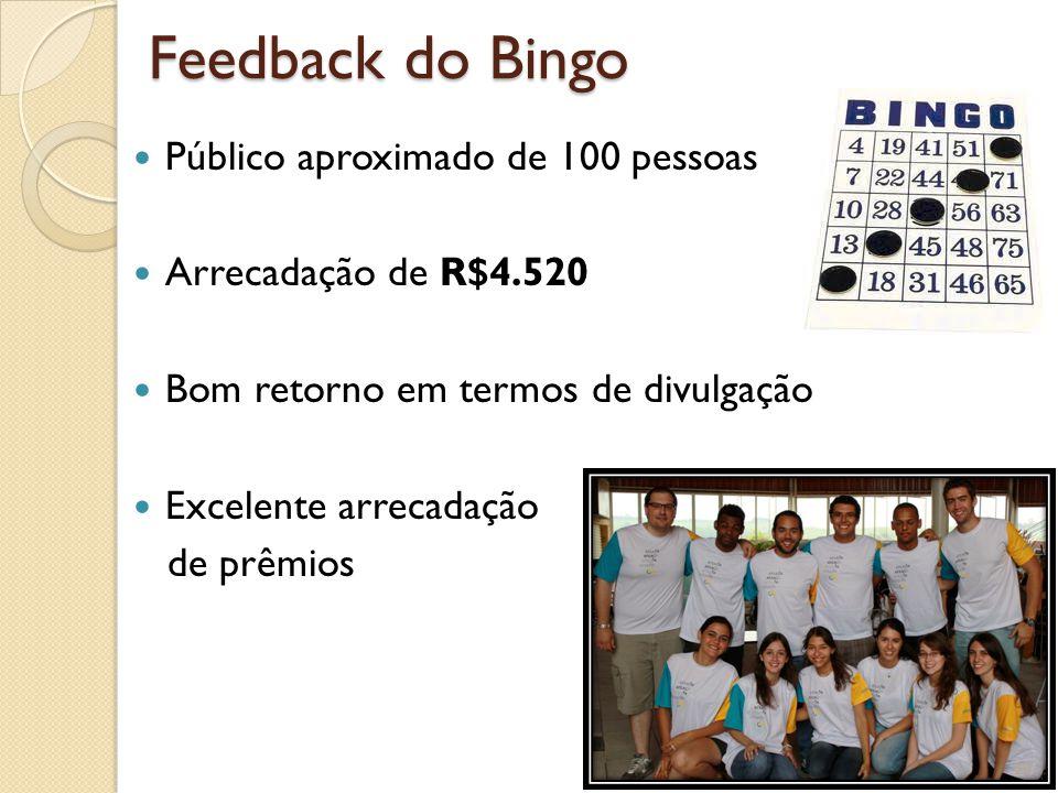 Feedback do Bingo Público aproximado de 100 pessoas