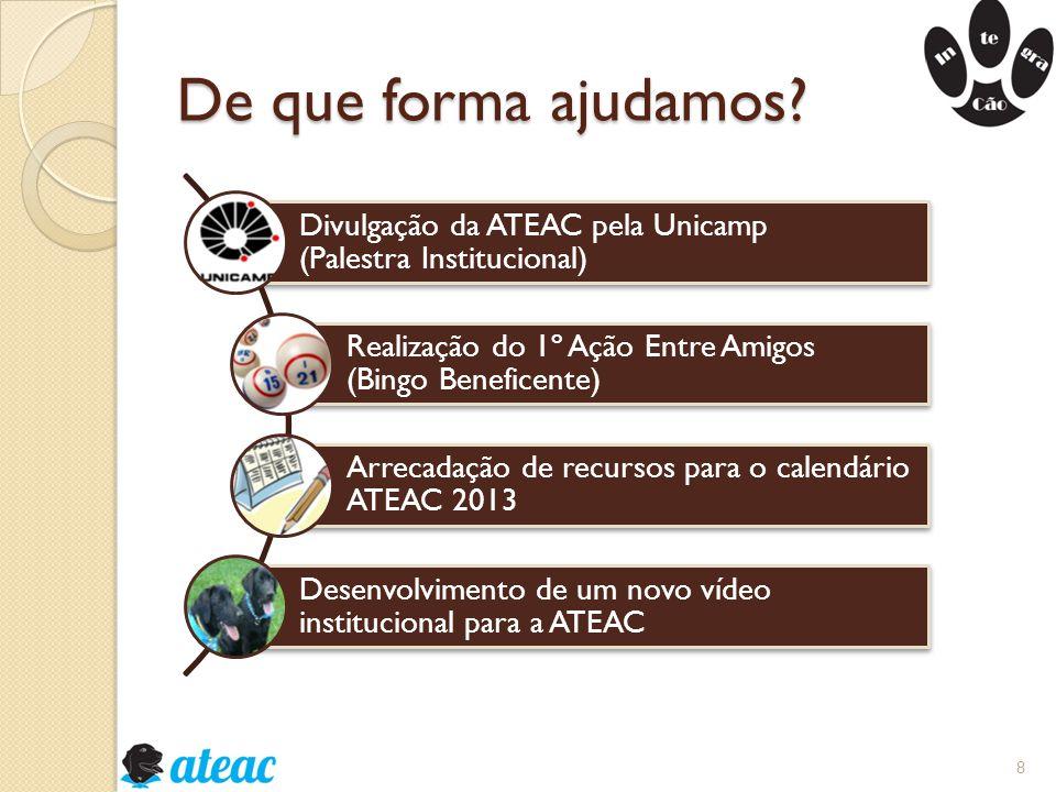 De que forma ajudamos Divulgação da ATEAC pela Unicamp (Palestra Institucional) Realização do 1º Ação Entre Amigos (Bingo Beneficente)