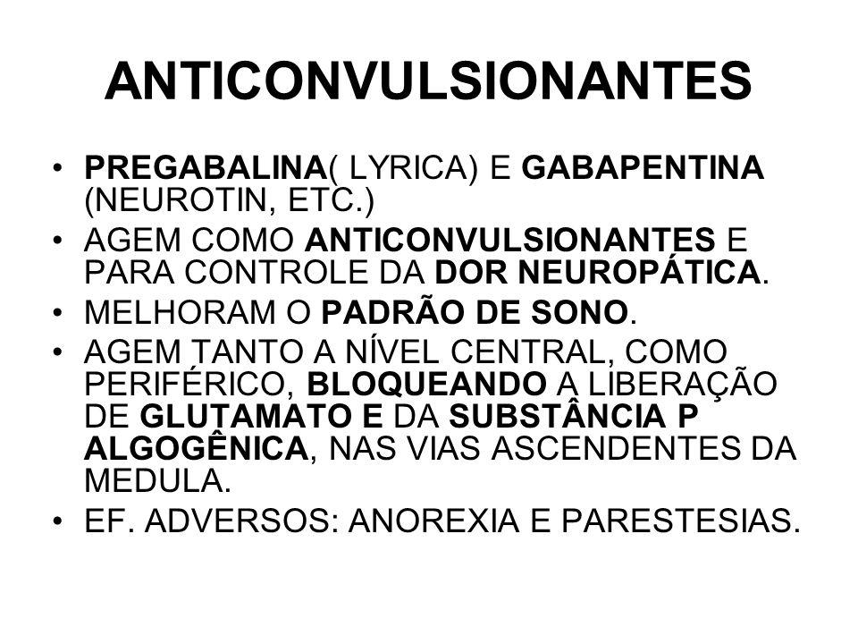 ANTICONVULSIONANTES PREGABALINA( LYRICA) E GABAPENTINA (NEUROTIN, ETC.) AGEM COMO ANTICONVULSIONANTES E PARA CONTROLE DA DOR NEUROPÁTICA.