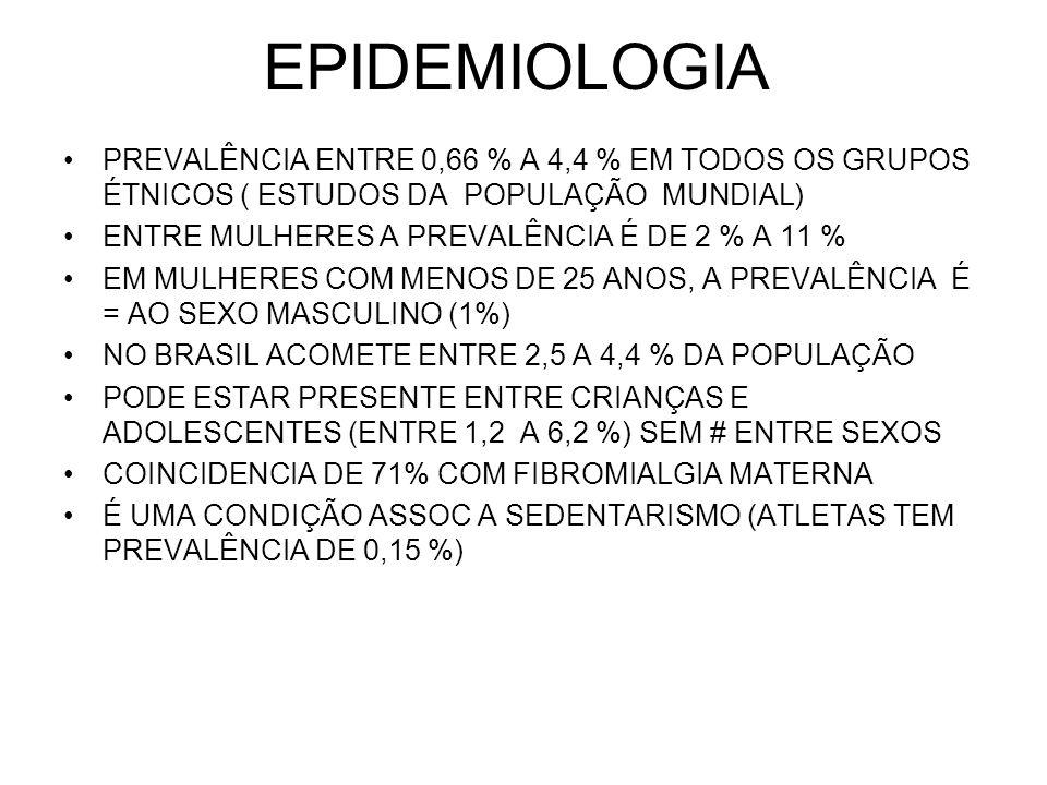 EPIDEMIOLOGIA PREVALÊNCIA ENTRE 0,66 % A 4,4 % EM TODOS OS GRUPOS ÉTNICOS ( ESTUDOS DA POPULAÇÃO MUNDIAL)