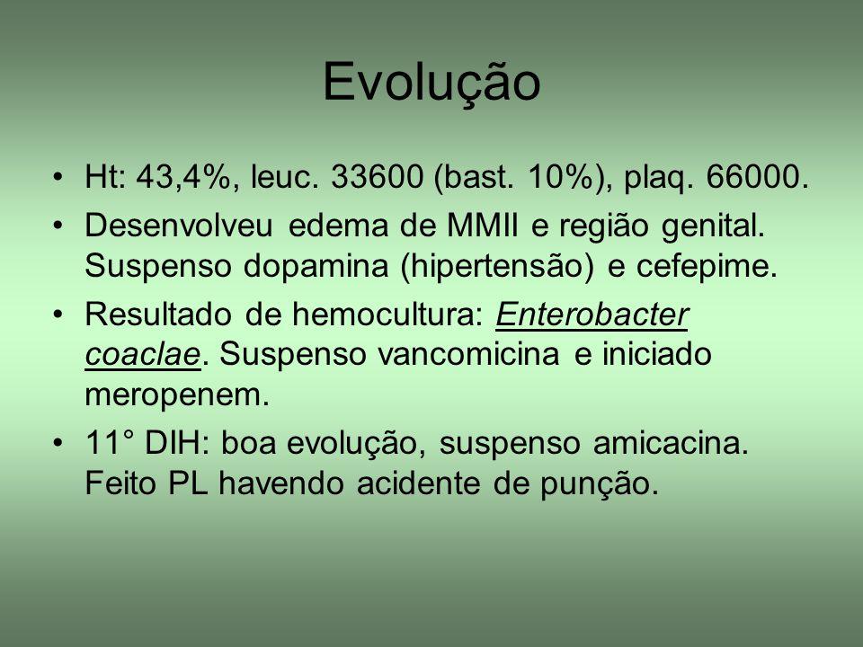 Evolução Ht: 43,4%, leuc. 33600 (bast. 10%), plaq. 66000.