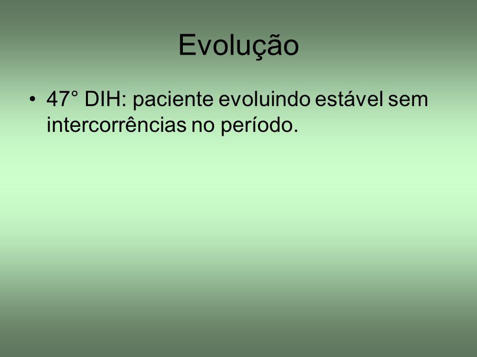 Evolução 47° DIH: paciente evoluindo estável sem intercorrências no período.