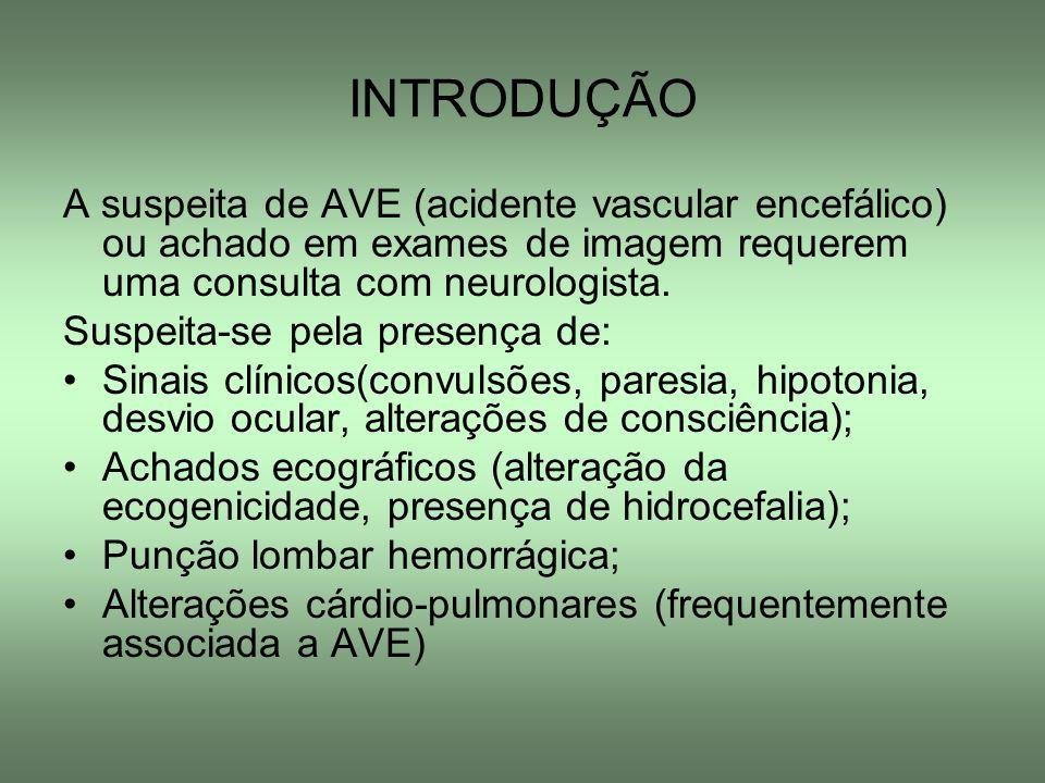 INTRODUÇÃO A suspeita de AVE (acidente vascular encefálico) ou achado em exames de imagem requerem uma consulta com neurologista.