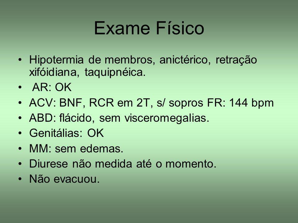 Exame Físico Hipotermia de membros, anictérico, retração xifóidiana, taquipnéica. AR: OK. ACV: BNF, RCR em 2T, s/ sopros FR: 144 bpm.