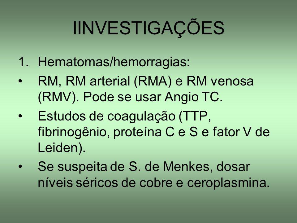 IINVESTIGAÇÕES Hematomas/hemorragias: