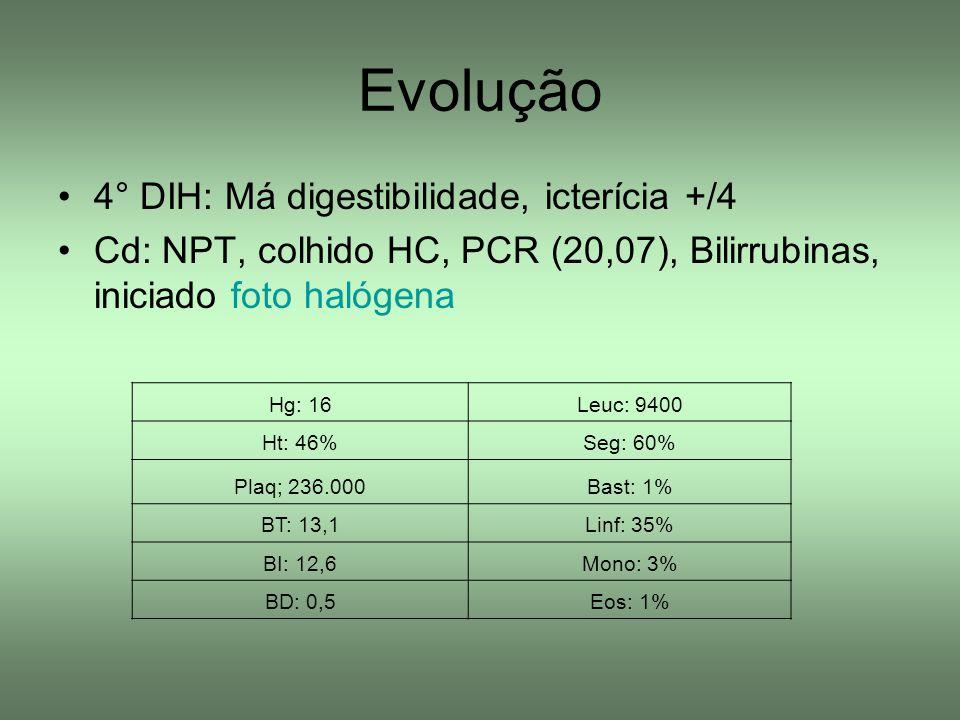 Evolução 4° DIH: Má digestibilidade, icterícia +/4