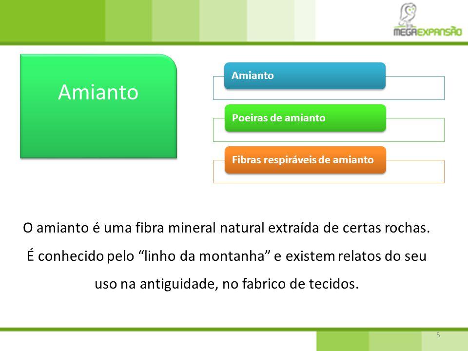 O amianto é uma fibra mineral natural extraída de certas rochas.