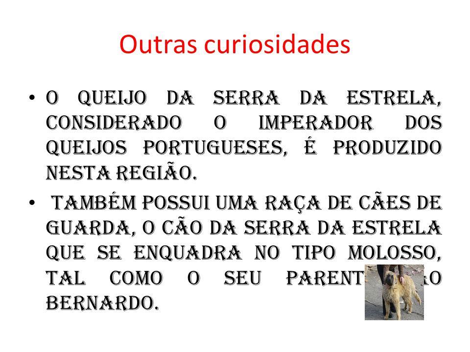 Outras curiosidades O queijo da Serra da Estrela, considerado o imperador dos queijos portugueses, é produzido nesta região.