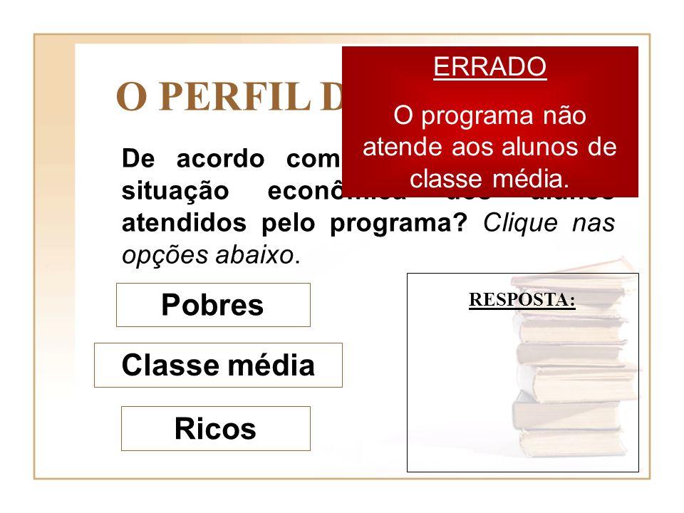 O programa não atende aos alunos de classe média.