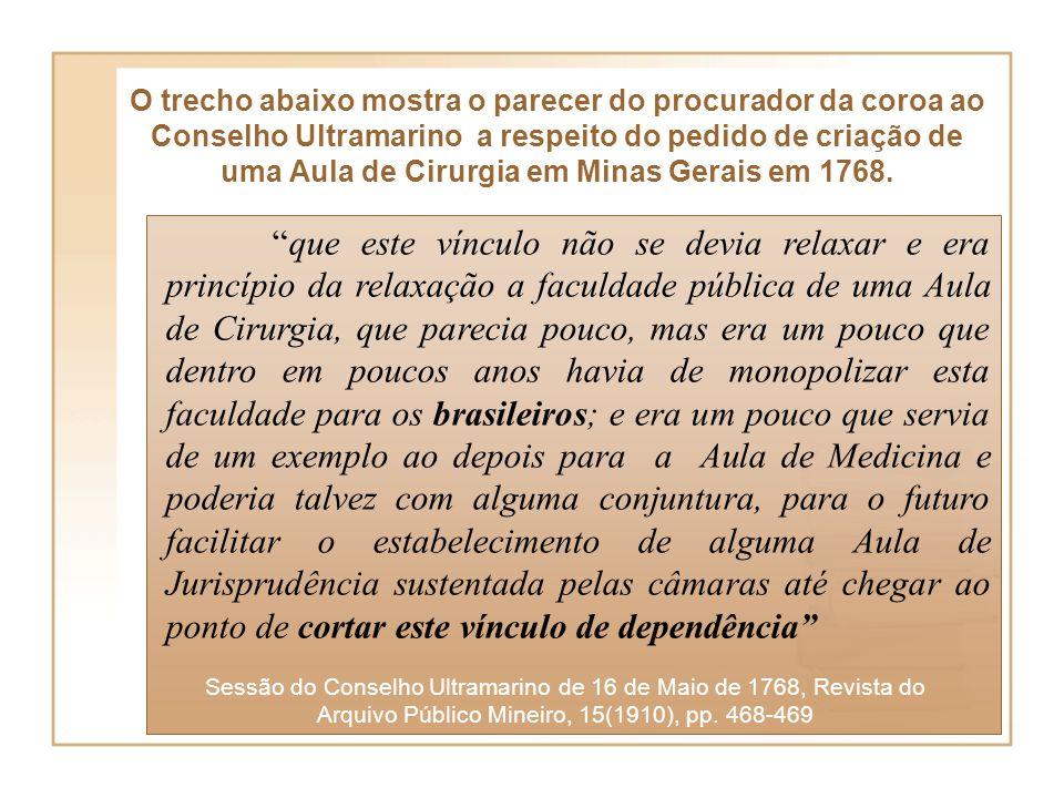 O trecho abaixo mostra o parecer do procurador da coroa ao Conselho Ultramarino a respeito do pedido de criação de uma Aula de Cirurgia em Minas Gerais em 1768.