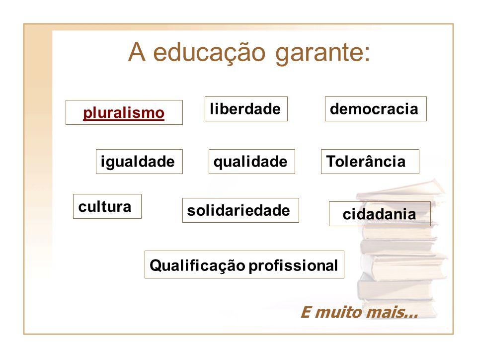 A educação garante: liberdade democracia pluralismo igualdade