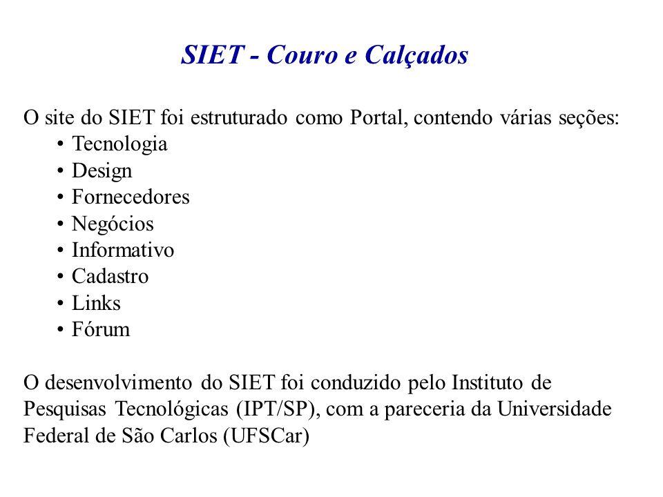 SIET - Couro e Calçados O site do SIET foi estruturado como Portal, contendo várias seções: Tecnologia.