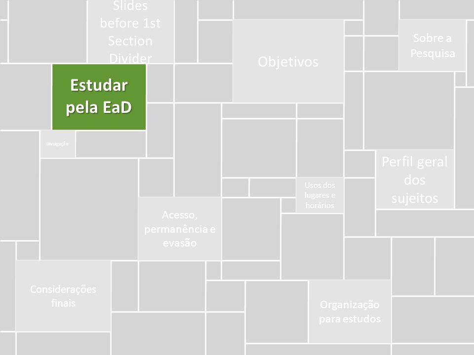 Estudar pela EaD Objetivos Perfil geral dos sujeitos