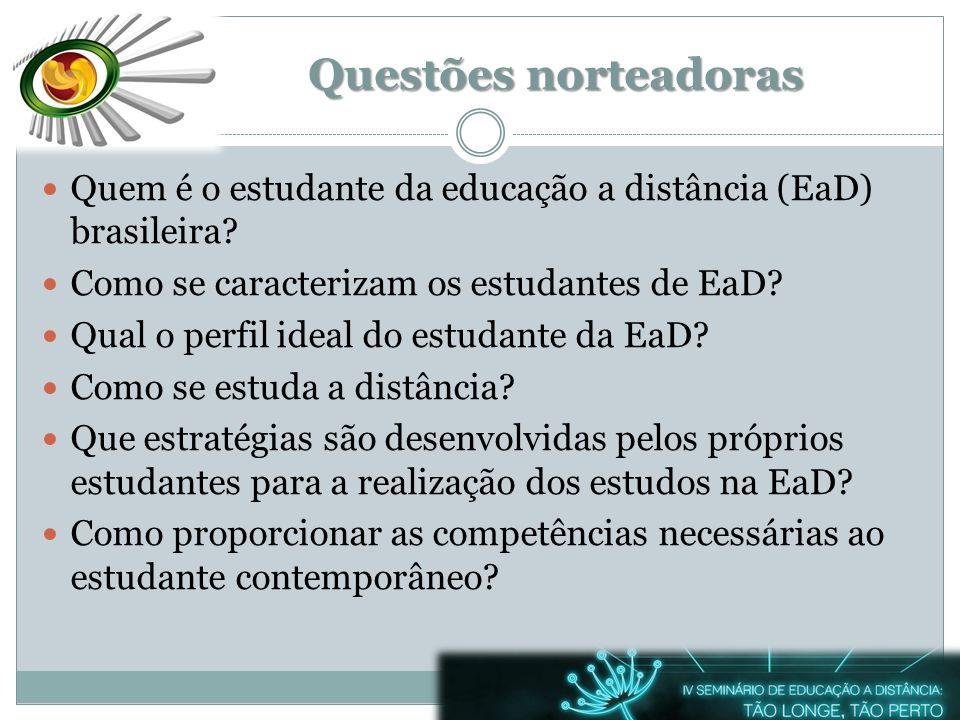 Questões norteadoras Quem é o estudante da educação a distância (EaD) brasileira Como se caracterizam os estudantes de EaD
