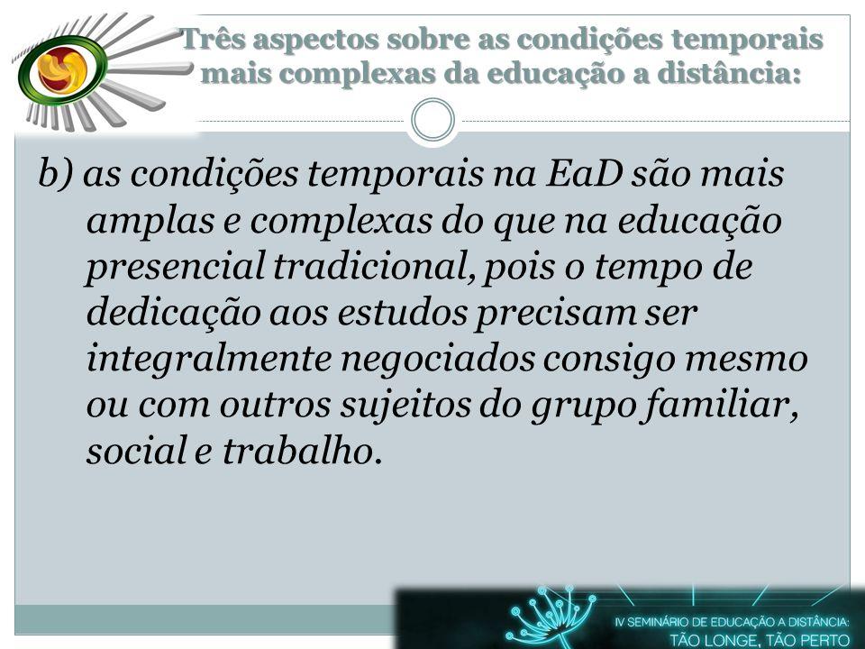 Três aspectos sobre as condições temporais mais complexas da educação a distância:
