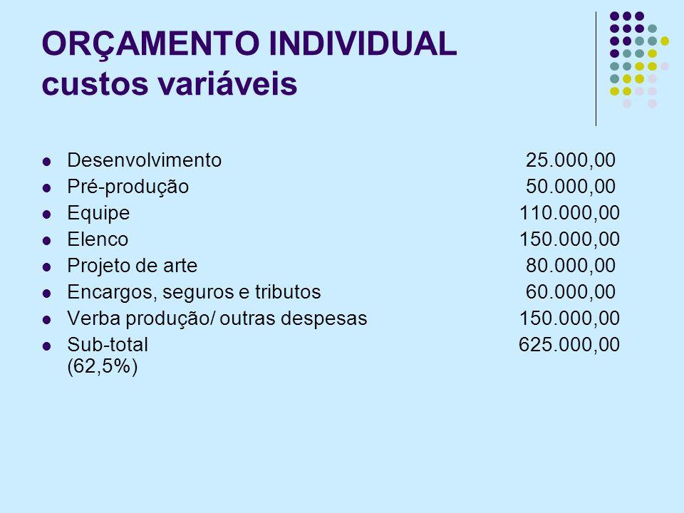 ORÇAMENTO INDIVIDUAL custos variáveis